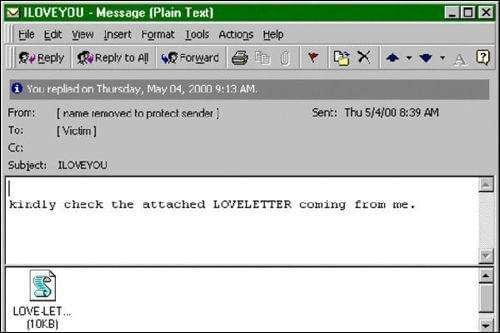 携带爱虫病毒的邮件
